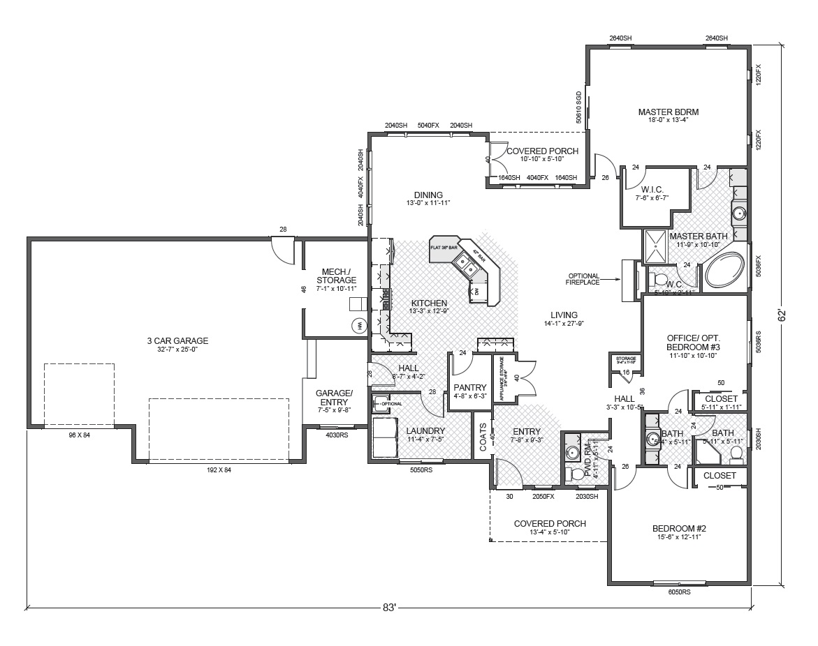 Professional house floor plans custom design homes winning for Rambler floor plans with basement