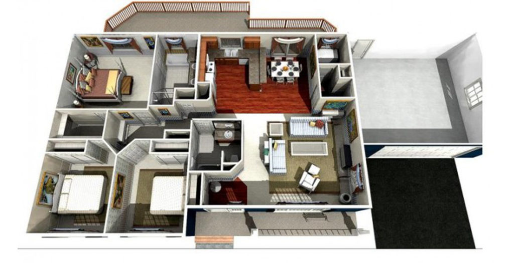 Ballenger true built home for Rambler house plans with 3 car garage