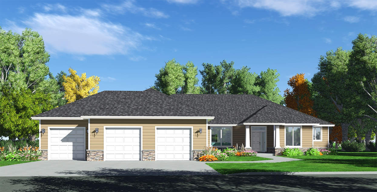 Jasmine home plan true built home pacific northwest for Rambler house plans with 3 car garage