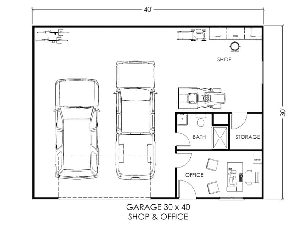 Home Builder Floor Plans Garage W Office And Workspace True Built Home Pacific
